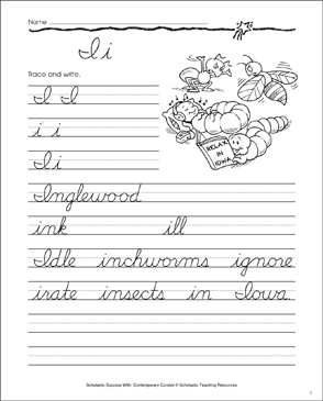 Letter Ii: Cursive Writing Practice - Printable Worksheet