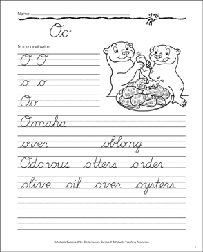 Letter Oo: Cursive Writing Practice - Printable Worksheet
