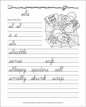 Letter Ss: Cursive Writing Practice - Printable Worksheet