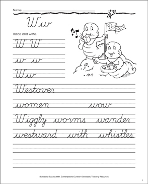 Letter Ww: Cursive Writing Practice - Printable Worksheet