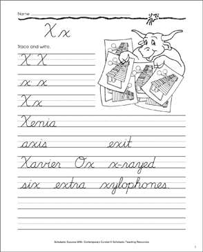 Letter Xx: Cursive Writing Practice - Printable Worksheet
