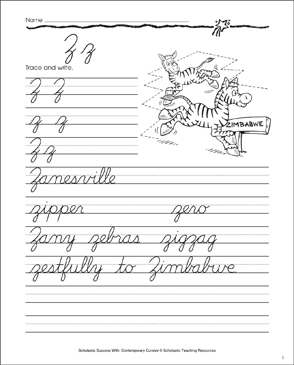 Letter Zz: Cursive Writing Practice - Printable Worksheet