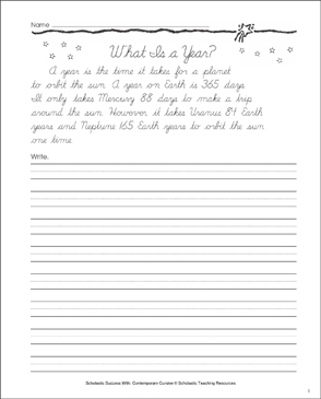 What Is a Year: Cursive Writing Practice - Printable Worksheet