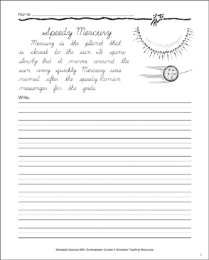 Speedy Mercury: Cursive Writing Practice - Printable Worksheet
