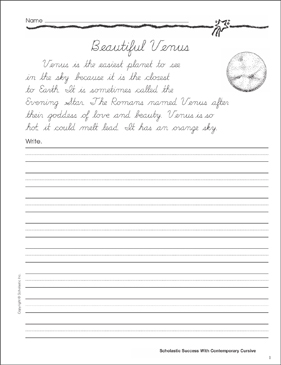 Beautiful Venus: Cursive Writing Practice - Printable Worksheet