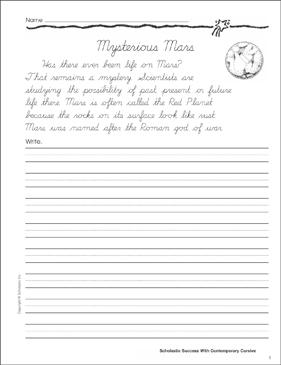 mysterious mars cursive writing practice printable skills sheets. Black Bedroom Furniture Sets. Home Design Ideas