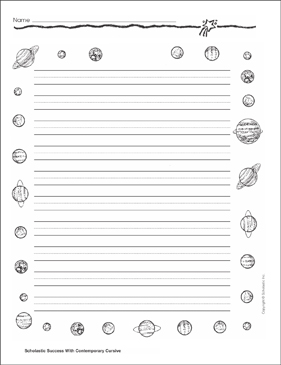 Printable Stationery Planets 2