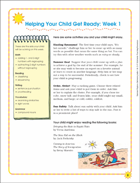 Week 1: Summer Express Between Grades 1 and 2 - Printable Worksheet