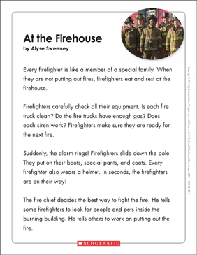 At the Firehouse: Text & Organizer - Printable Worksheet