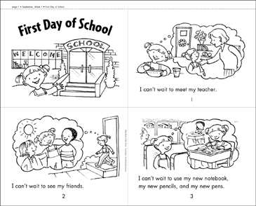 First Day of School Mini-Book - Printable Worksheet
