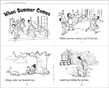 When Summer Comes Printable Mini Books