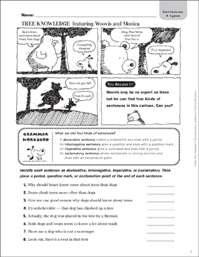 Tree Knowledge (Types of Sentences) - Printable Worksheet