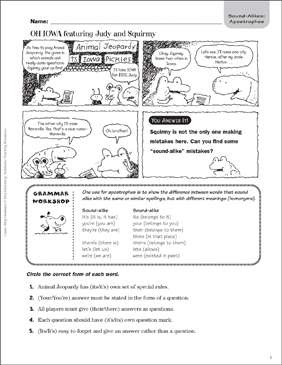 Oh Iowa (Apostrophes) - Printable Worksheet