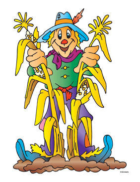 Scarecrow With Cornstalks - Image Clip Art