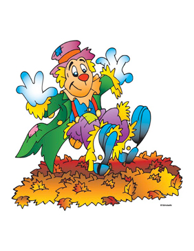 Scarecrow In Leaves - Image Clip Art