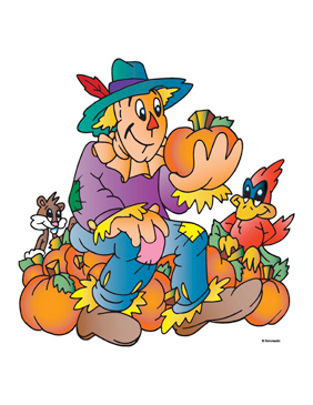 Scarecrow With Pumpkins - Image Clip Art