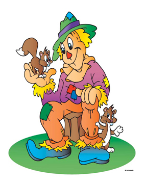 Scarecrow With Squirrels - Image Clip Art