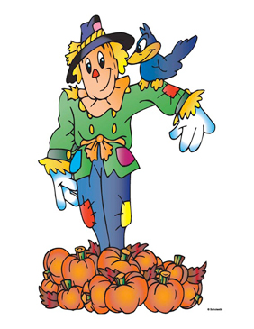 Scarecrow With Pumpkins and Crow - Image Clip Art