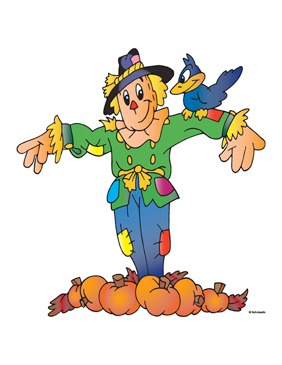 Scarecrow Pointing With Pumpkins and Crow - Image Clip Art