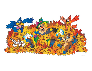 Scarecrow In Leaves With Animals - Image Clip Art