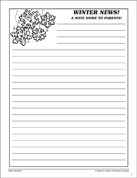 Winter News! Send-Home Letter - Printable Worksheet