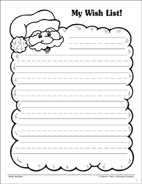 My Wish List! Holiday Stationery - Printable Worksheet