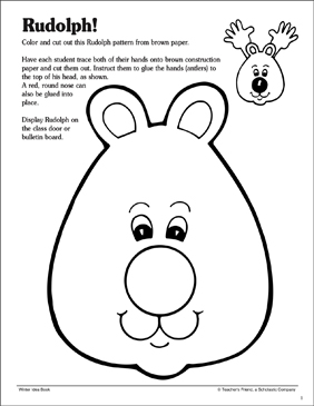 Handy Rudolph Craft: Pattern and Activity Idea - Printable Worksheet