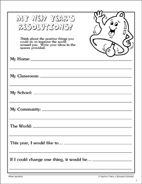 My New Year's Resolutions! Page - Printable Worksheet