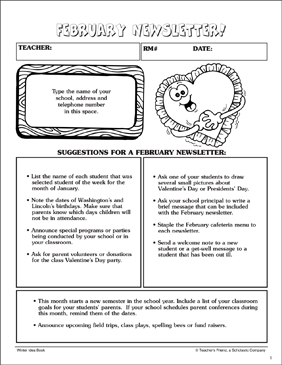 February Newsletter: Send-Home Page - Printable Worksheet
