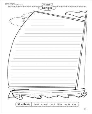 Long o Vowel (boat): Phonics Stationery - Printable Worksheet