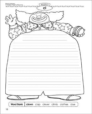 cl Blend (clown): Phonics Stationery - Printable Worksheet