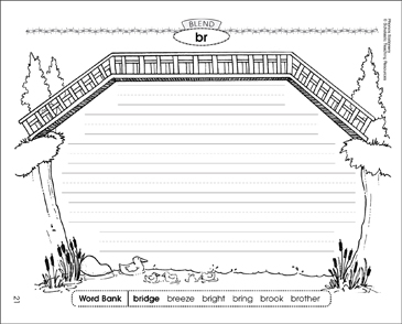br Blend (bridge): Phonics Stationery - Printable Worksheet