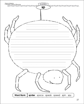 sp Blend (spider): Phonics Stationery - Printable Worksheet