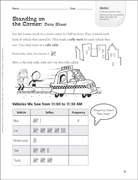Standing on the Corner (Tally Chart): Tiered Math Practice - Printable Worksheet