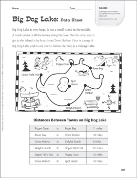 Big Dog Lake (Map/Data Table): Tiered Math Practice - Printable Worksheet