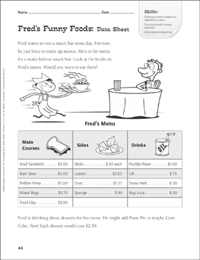 Fred's Funny Foods (Price Lists): Tiered Math Practice - Printable Worksheet