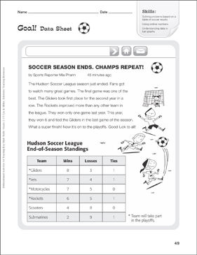 Goal! (Data Table): Tiered Math Practice - Printable Worksheet