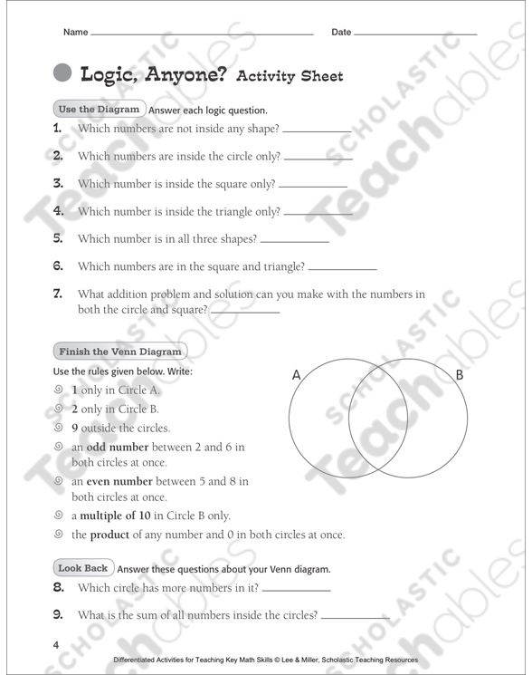 Logic Anyone Venn Diagram Tiered Math Practice Printable