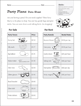 Party Plans (Price Lists): Tiered Math Practice - Printable Worksheet