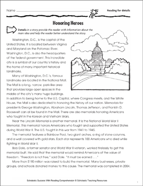 Honoring Heroes (Main Idea) - Printable Worksheet