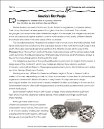 America's First People (Compare and Contrast) - Printable Worksheet