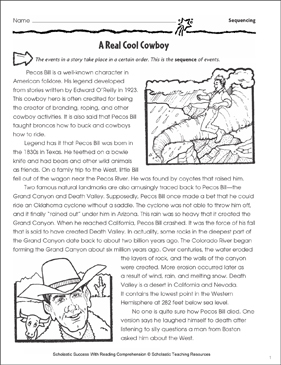 A Real Cool Cowboy (Sequence of Events) - Printable Worksheet