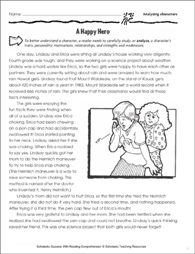 A Happy Hero (Character Traits) - Printable Worksheet
