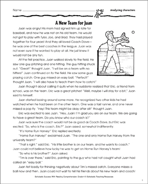A New Team for Juan (Character Traits) - Printable Worksheet