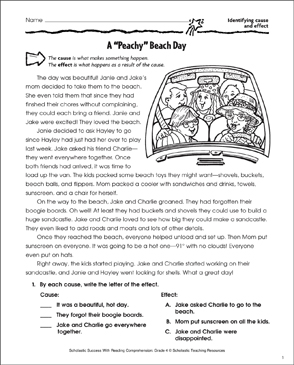 A Peachy Beach Day (Cause and Effect) - Printable Worksheet