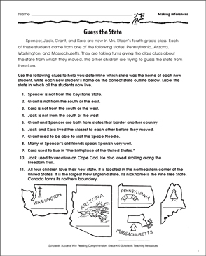 Guess the State (Making Inferences) - Printable Worksheet
