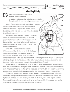 Climbing Blindly (Fact or Opinion) - Printable Worksheet