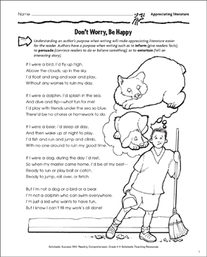 Don't Worry, Be Happy (Appreciating Literature) - Printable Worksheet