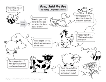 Buzz, Said the Bee: Reading Response Map - Printable Worksheet