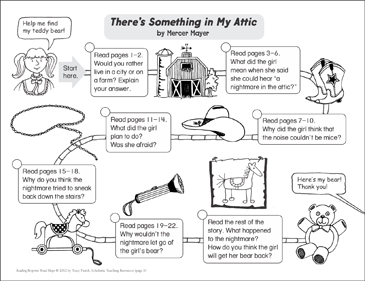 There's Something in My Attic: Reading Response Map - Printable Worksheet